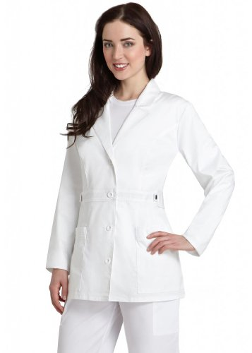 Cherokee Drucken Scrub Tops (Adar pop-stretch Junior Passform Damen 71,1 cm tab-waist Lab Coat Gr. XX-Small, weiß)