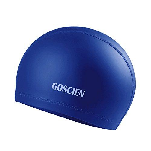 GOSCIEN Badekappe Schwimmkappe Silikon Elastisch Rutschfest Unisex Schwimmkappe für kurze und lange Haare (Blau)