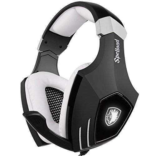 [2016 Newly Updated Gaming Headset] SADES A60/OMG PC Computer USB headsets, Wired Over Ear Stereo Heaphones With Microphone Noise Isolating Volume Control LED Light (Black+White) 41ptjK vO2L