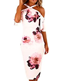 Yesmile Vestido de Mujer Vestidos Casual Sin Mangas Con Estampado Floral Sin