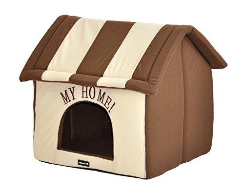nanook Hundehaus Hundehöhle ADRIAN, Größe L mit Kissen, weicher Stoff Bezug, waschbar, warm, braun beige - 3
