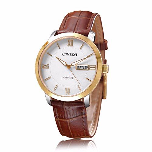 Herren Armbanduhr Automatik Uhr mit Brauns Leder