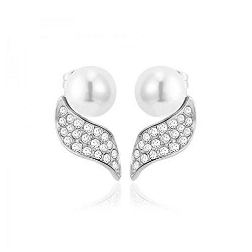 """Yparah - Boucles D'Oreilles Femme - """"Perles Argent"""" - Cristal de Swarovski"""