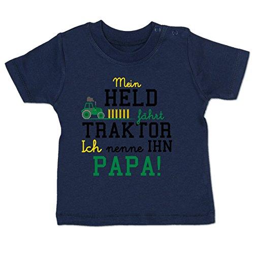 Sprüche Baby - Mein Held fährt Traktor - 3-6 Monate - Navy Blau - BZ02 - Baby T-Shirt Kurzarm