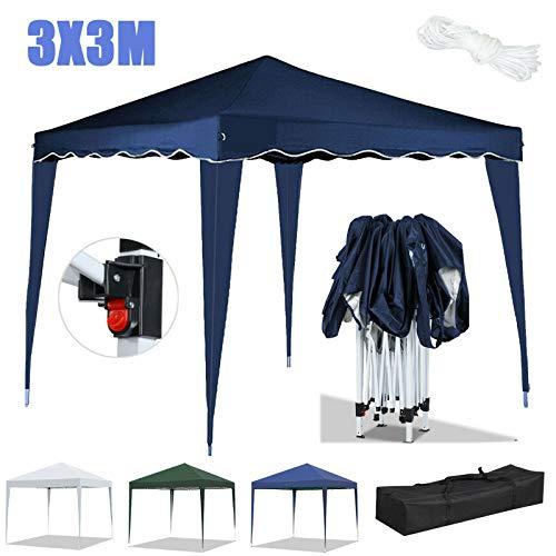 Huini 3x3m Folding Pop Up Pavillon Wasserdichter UV-Schutz 50+ Pavillon ohne Seitenwände Gartenparty Hochzeit Outdoor-Aktivitäten Zelt Festzelt Markise-Weiß