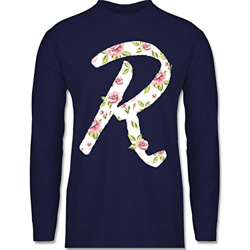 Shirtracer Anfangsbuchstaben - R Rosen - Herren Langarmshirt Navy Blau