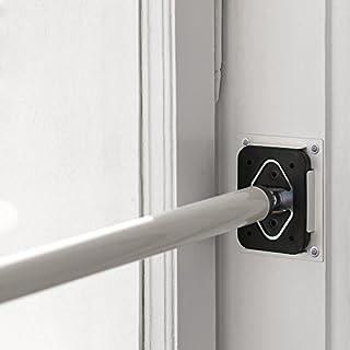 ALLEGRA Sicherungsstange für die Fenstersicherung und Türsicherung, Einbruchschutz für Fenster und Türen (2 x Ankerplatte Edelstahl gebürstet))