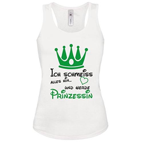Tank-Top Damen ICH SCHMEISS ALLES HIN UND WERDE PRINZESSIN Tank Tops Gr.S-XL Shirt Weiss-Schwarz-Neongrün