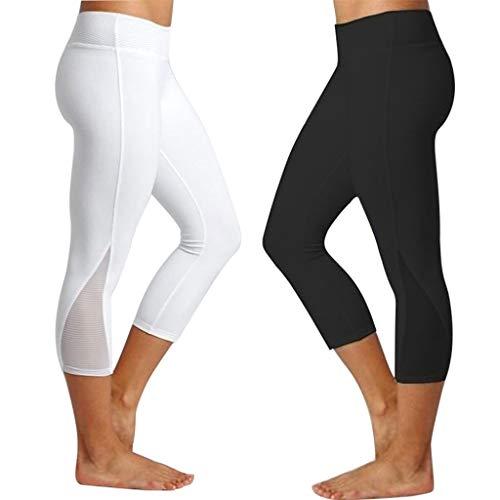 SHINEHUA Damen 3/4 Spitze Capri Leggings Sporthose Sport Leggings Tights 1 bis 2er Pack Hohe Taille Yoga Fitness Shorts Elastische Trainieren Legging Hose Yogahose Laufhose Ss-chino-hose