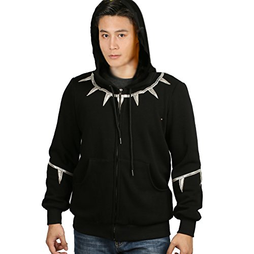 z Kapuzen Pullover Reißverschluss Jacke Mantel Baumwolle Warm Cosplay Sweatshirt Kostüm Top für Erwachsene Halloween (XXL, Silber + Dünn) (Besten Film Charaktere Kostüme)
