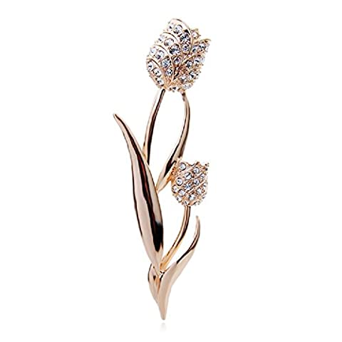 Glamorous 18 ct Rose Gold Plated Flowers Tulips Pin Brooch
