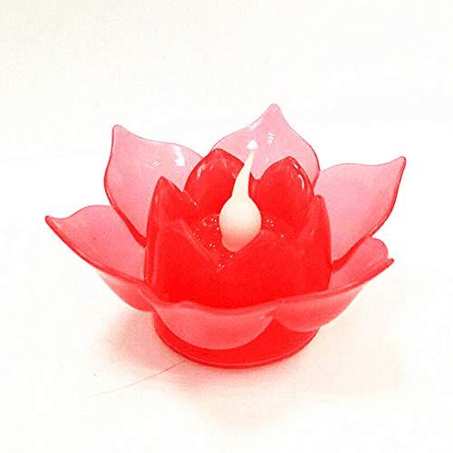 MElnN Lotus Schwimmende Kerze Licht Flammenlose Lampe Dekoration Nachtbeleuchtung Batteriebetrieben für Teichparty Bad Schwimmbad Garten Hochzeit, rot, Free Size (Schwimmende Lotus Kerzen)