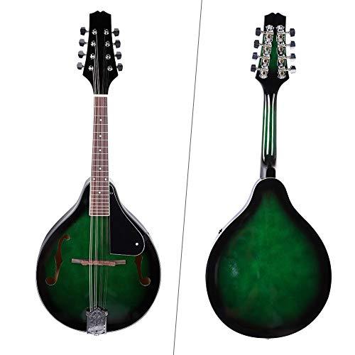 Preisvergleich Produktbild Dilwe 8 Saiten Mandoline Instrument,  22 Fret Holz 8-String Mandoline mit Carry Aufbewahrungstasche und Mark Punkte auf Fret,  Grün
