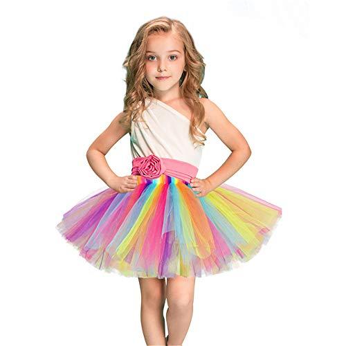 Melodycp Mädchen Prinzessin Tüll Tutu Kleid Sommer ärmellos Kostüm Geburtstag Party Fancy Up Kleid, Netz, ()