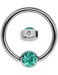 Titanio Anillo en 1,6x 7mm como labio Piercing visillo con piedra en plano 3mm de diámetro, de color verde turquesa