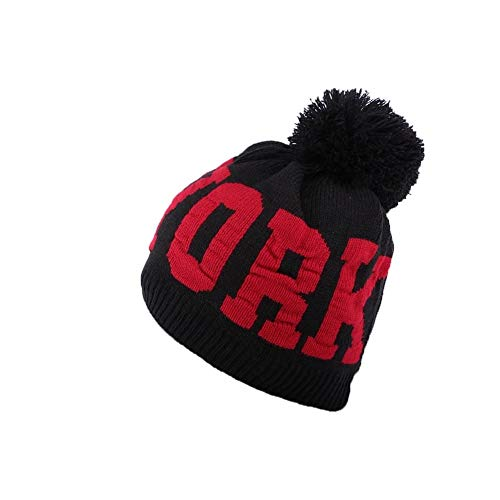 Hip Hop Honour Bonnet Pompon Noir et Rouge New York - Mixte