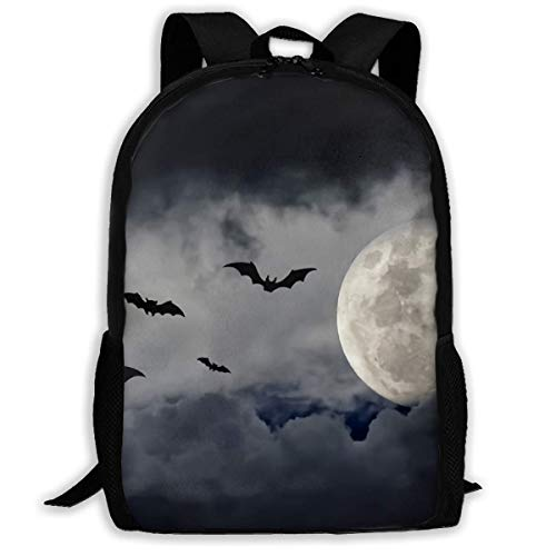 ck, Schultasche Travel Bookbag, Halloween Bats and The Moon Unique Outdoor Shoulders Bag Fabric Backpack Multipurpose Daypacks for Adult Kids ()