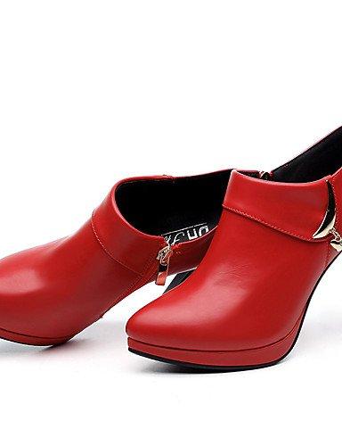 WSS 2016 Chaussures Femme-Mariage / Habillé / Soirée & Evénement-Noir / Rouge-Talon Aiguille-Talons-Chaussures à Talons-Similicuir red-us6 / eu36 / uk4 / cn36
