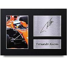 Fernando Alonso Los Regalos Firmaron A4 la Dedicatoria Impresa F1 Formula One Demostración de Foto