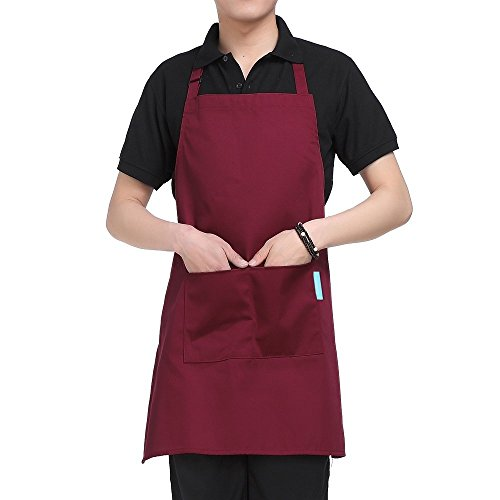 Esonmus Schürze Kochschürze Küchenschürze Latzschürze in 5 verschiedenen Farben mit verstellbarem Nackenband