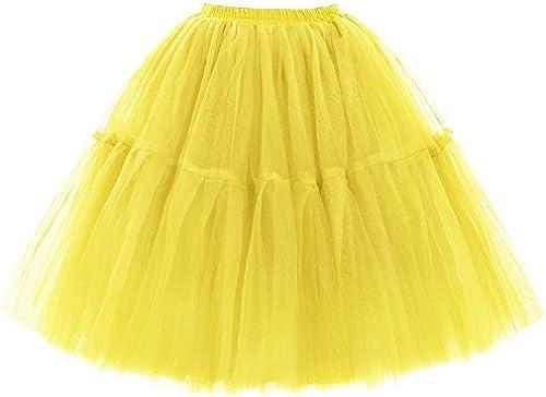 Babyonline Damen Tüllrock 5 Lage Prinzessin Falten Rock Tutu Organza Petticoat Ballettrock Unterrock Pettiskirt