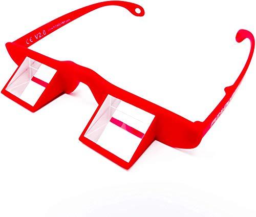 FIT4OLYMP Sicherungsbrille Kletterbrille zum Klettern sichern Belay Glasses für Brillenträger Nacken entlasten Climbing Prisma Winkelbrille (red)