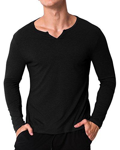 ModChok Herren V-Ausschnitt Langarmshirt Einfarrbig Shirt Hemd Sweatshirt T-Shirt Schwarz XL