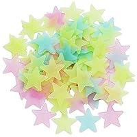 Iindes 100Pcs Stars Glow in The Dark Luminous Fluorescent Plastic Wall Stickers Full Colour 3cm