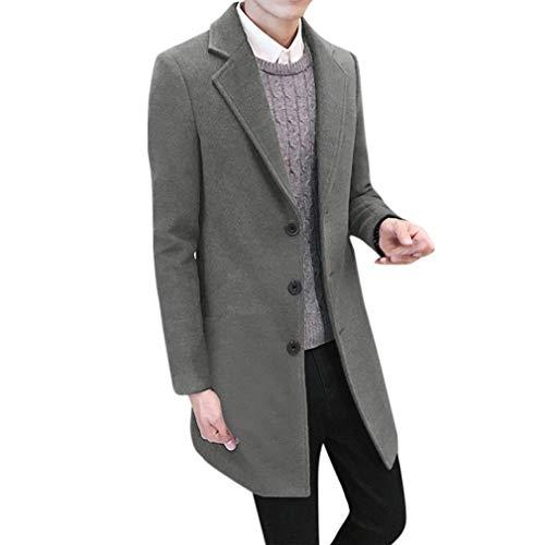 zahuihuiM Herren Schwarz Grau Khaki Trenchcoat Klassisch Frühling Herbst Winter 100% Baumwolle Langer Mantel Langarm Reine Farbe Große Größe Slim Fit Einreiher Mantel (L, Grau)