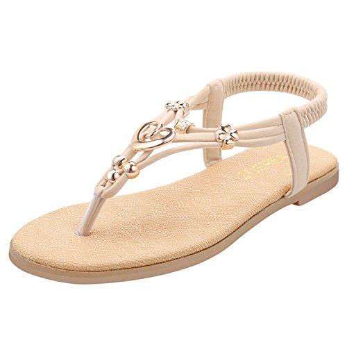 ZOEREA Damen Sandalen Schuhe Knöchelriemen Roman Geflochtene T-Strap Gladiator Sandalen Flats Thong Sandalen Sommer Schuhe Strand Flip Flop Hausschuhe