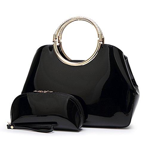 Syknb Mode - Handtasche Tasche Handtasche Trend Bright Braut Styling - Paket. Black