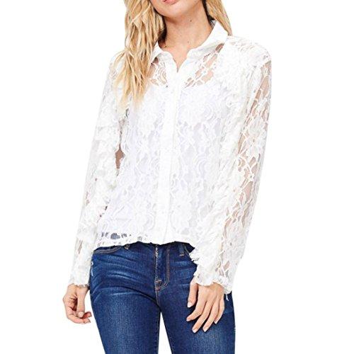 Malloom® Sommer Frauen Damen Mode Lässig Spitze Shirts Chiffon Blusen Oberteile (L, weiß)