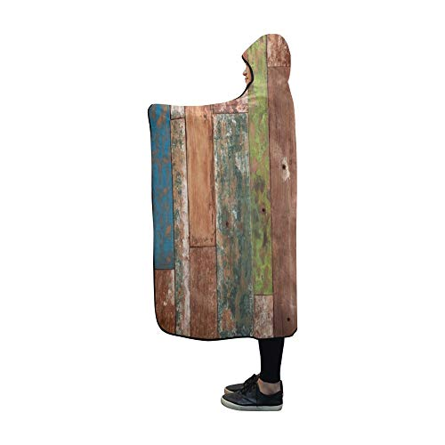 JOCHUAN Mit Kapuze Decke abstrakt Grunge Holz Textur Decke 60 x 50 Zoll Comfotable mit Kapuze Wurfs-Wrap -