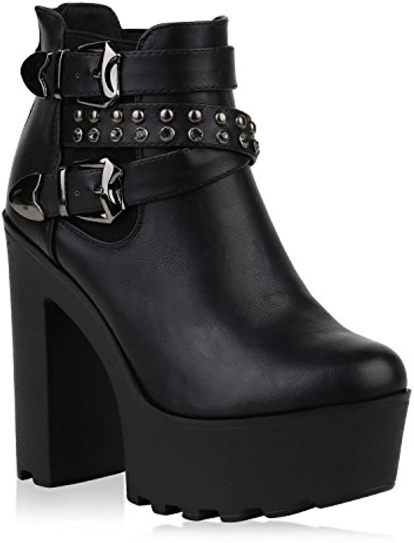 Stiefelparadies Damen Stiefeletten Plateau Boots mit Blockabsatz Nieten Schnallen Flandell