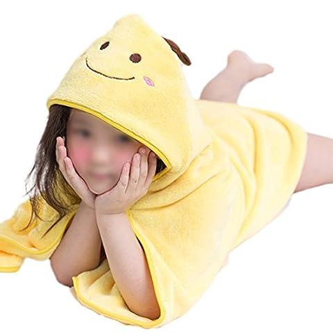 Serviette de bain à capuche pour enfant en velours Corail doux Serviettes pour garçons filles 0–9ans