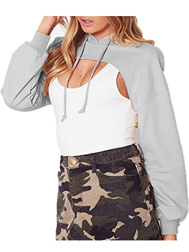 Damen Tops ,LMMVP Frauen Feste Lose Sweatshirt Tops Lange Hülsen Hoodie Bluse (S, Gray) (Stripe Terry Short)