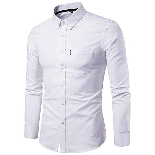 Junjie Herren Solide Hemden Slim Langarm Strickjacke Sweatshirt, Retro Karierte Selbstkultivierung Sweatshirt Herbst Winter,Weiß,44(5XL) -