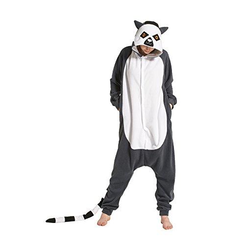 sene Onesies Kigurumi Pyjamas Tier Kostüme Cosplay Cartoon Nachtwäsche Lemur L (Lemur Halloween Kostüme)