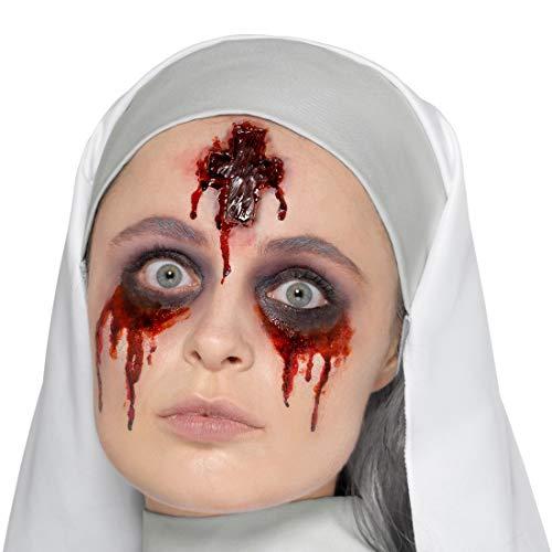 Amakando Grauenhaftes Zombie-Wundmal Kreuz-Zeichen / Rot mit Kleber / Unheimliches Kostüm-Zubehör Nonne aus Latex / Perfekt geeignet zu Horror-Party & Fasching (Latex Nonne Kostüm)