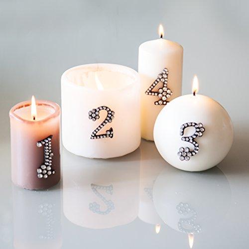Adventsdekoration 1 2 3 4, Metall- Strass- Kristall Zahlen zum dekorieren von Kerzen (Adventskranz), Gestecken oder weihnachtlichen Dekorationen. Kerzenstecker, Kerzen- Pin ...