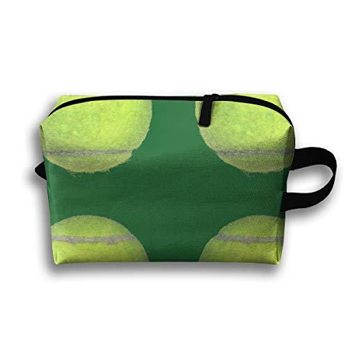 Makeup Cosmetic Bag Tennis Balls On Green_70031 Medicine Bag Zip Travel Portable Storage Pouch for Mens Womens 10x4.9x6.3 Inch -
