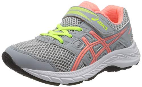 Asics Unisex-Child Contend 5 PS Running Shoe, Piedmont Grey/Sun Coral, 31.5 EU