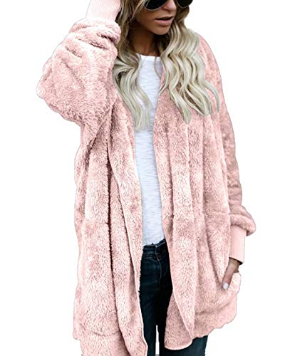 Women's Winter Sherpa Plush Jacket Coat Fleece Cardigan Open Front Hooded Pink M