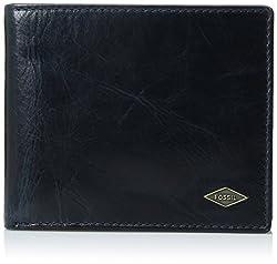 Fossil Rfid Black Mens Bi-Fold Wallet