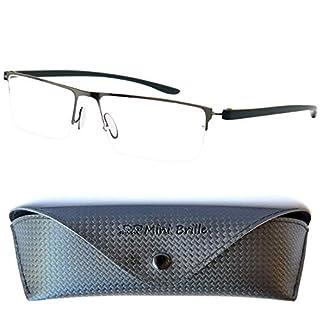 Leichte Metall Halbbrille Lesebrille mit rechteckigen Gläsern - mit GRATIS Etui und Brillenputztuch, Edelstahl Rahmen (Graphit), Lesehilfe für Damen und Herren +1.5 Dioptrien