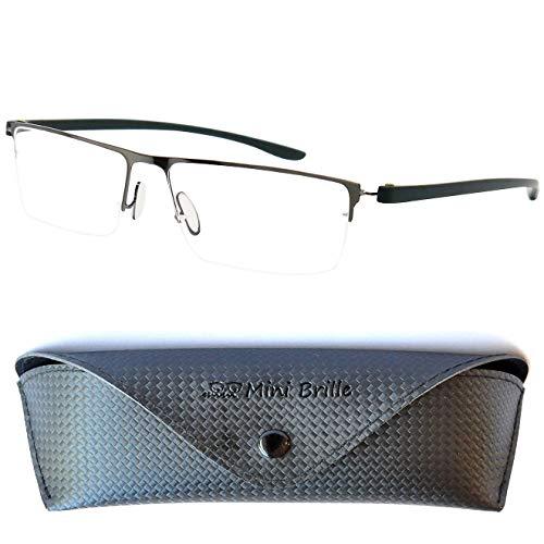 Leichte Metall Halbbrille Lesebrille mit rechteckigen Gläsern - mit GRATIS Etui und Brillenputztuch | Edelstahl Rahmen (Graphit) | Lesehilfe für Damen und Herren | +1.5 Dioptrien