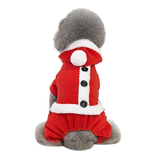 Katze Kostüm Link - Hund Latzhose Pant Home Link Winter Weihnachten Kleiner Hund Katze Dekoration Warmer Mantel Kostüm Bekleidung (XL, Rot B) Druckknopf Eng anliegend