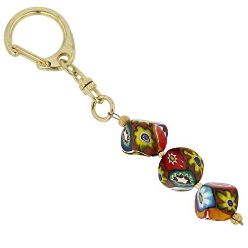 GlassOfVenice Murano Glass Mosaic Cubes Keychain