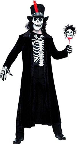Smiffys Herren Vodoo Kostüm, Jacke, Stock, Hut mit Maske und Haar und Halskette, Größe: M, 30403
