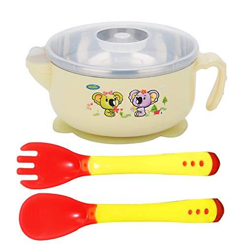 Baby Saugnapf mit Deckel - WENTS Edelstahl Baby Schüssel Wasserinjektion Bowl Learning Schüssel Wärmeempfindliche Baby Sicherheitslöffel Gabel (Edelstahl Baby)